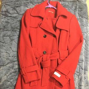 Red CalvinK pea coat